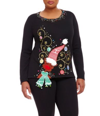 Adorable reindeer plus size Christmas sweater for women