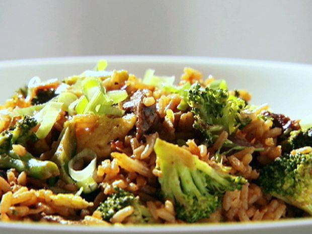 Sandra Lee's Beef Fried Rice! You could make this a bit healthier by substitution chicken for the beef and brown rice for the white rice. I'd also use bok choy instead of the bean sprouts and maybe add some carrots for added color and vitamin A!
