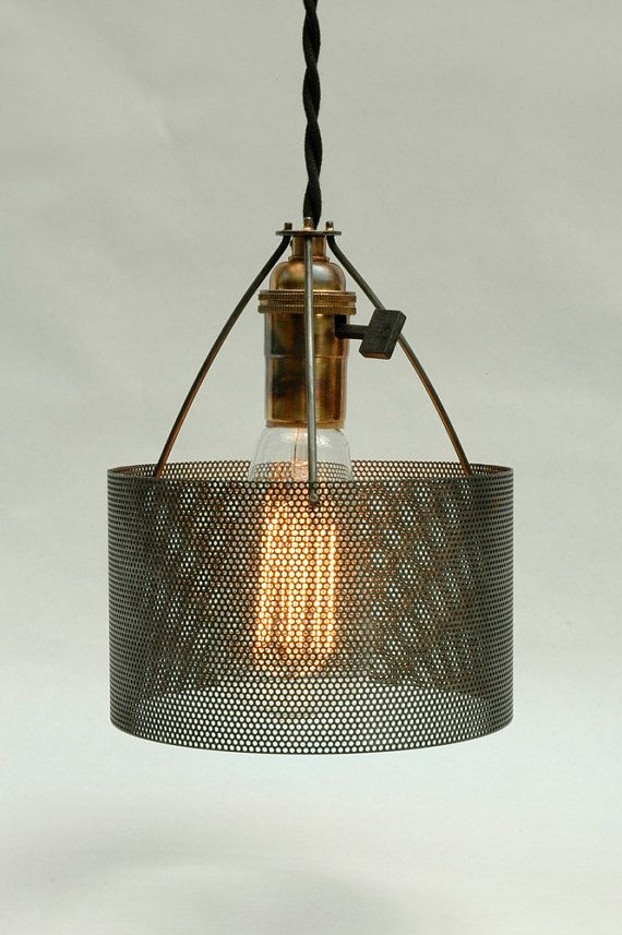 industrial perforated metal drum lamp shade number 2 illuminations. Black Bedroom Furniture Sets. Home Design Ideas