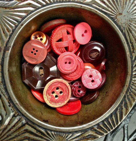 RED Vintage button mix large lot of old buttons by pinksewingroom, $8.00