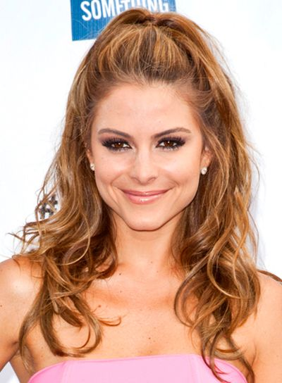 long haircuts for round faces wavy hair | Maria Menounos' Long, Tousled, Wavy, Half Updo Hairstyle - Beauty Riot