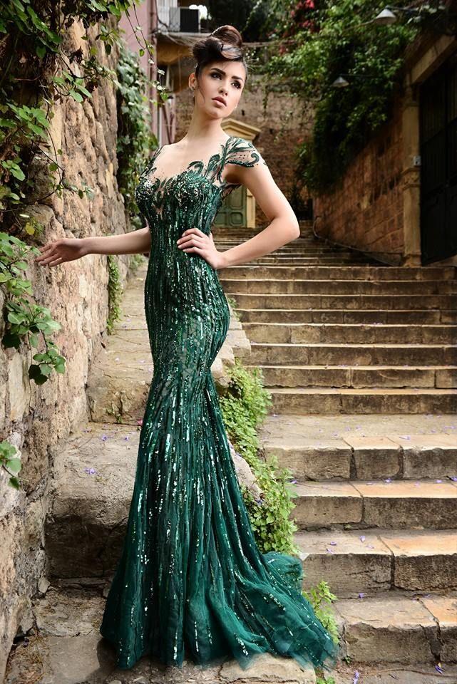 Beautiful emerald green dress by Rami Salamoun perfect for ...