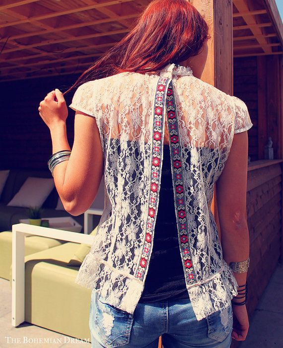 Bohemian lace top open back slit shirt Boho Hippie style layering Upcycled clothing OOAK by TheBohemianDream