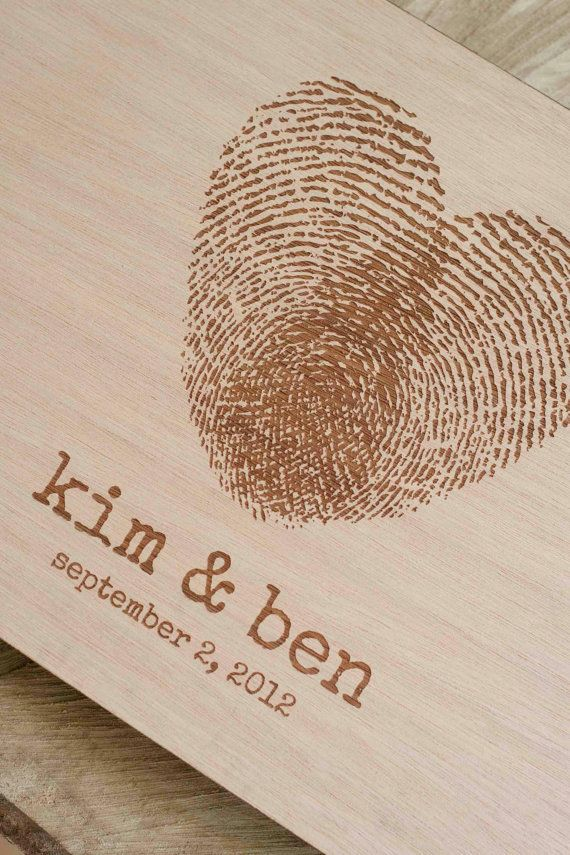 Custom wedding guest book wood rustic wedding guest book album bridal shower engagement anniversary - Fingerprint Heart