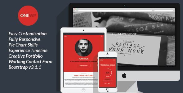One Wordpress is a Flat, Responsive Resume and Personal Portfolio Theme for placing your personal information and portfolio.   Features   Easy Customization Fully Responsive HTML5 & CSS3 Pie Ch...