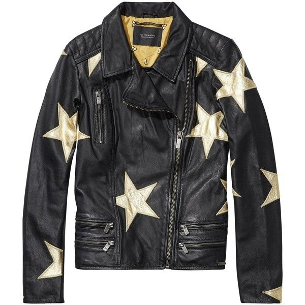 Star Patterned Leather Jacket ❤ liked on Polyvore featuring outerwear, jackets, star jacket, leather jackets, genuine leather jackets, real leather jackets and 100 leather jacket