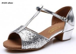 latin dance shoes #105 sequin silver