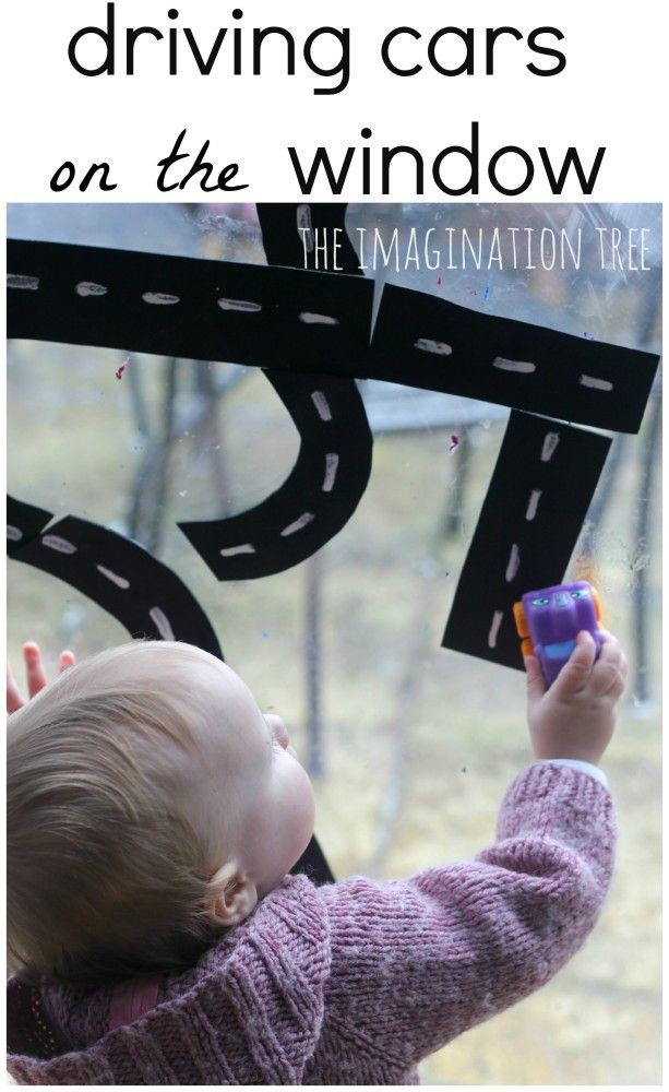 Make an easy and playful car driving activity using craft foam road-way pieces stuck to the window or bath tub!