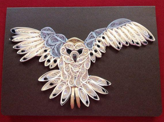 3D Owl Card Owl Portrait Paper Craft Paper Sculpture by Quillextra