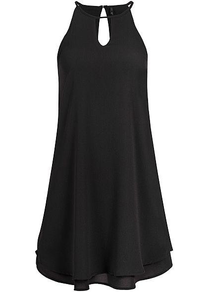 ONLY Damen Mini Kleid 2-lagig A-Linie Schlitz vorne & hinten NOOS schwarz Only Kleider | 77onlineshop im Online Shop preiswert kaufen
