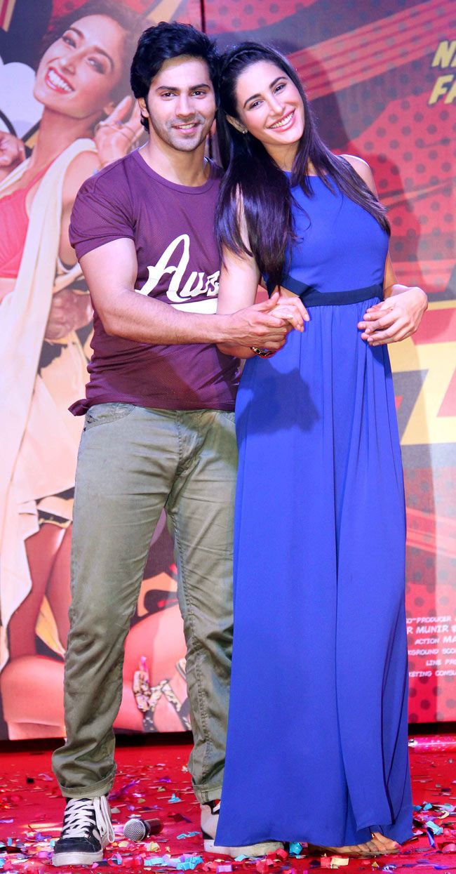 Varun Dhawan with Nargis Fakhri at the music launch of 'Main Tera Hero'.