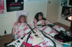 James Hetfield and Kirk Hammett at Hammett's mom's house in El Sobrante, CA.