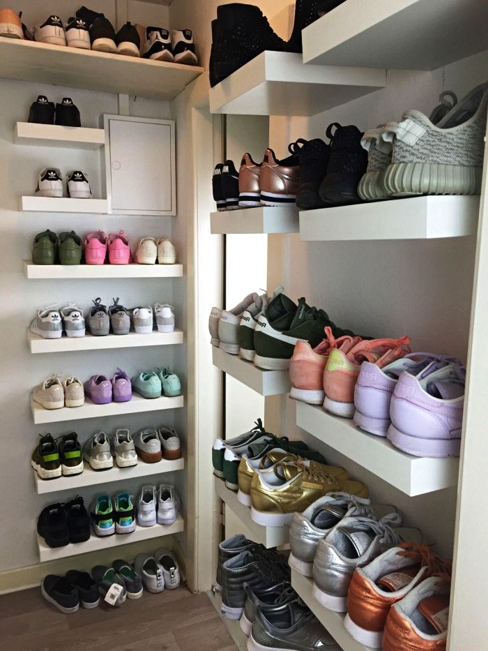1001 Idees Pour Amenager Un Dressing A Chaussures Petit Meuble Rangement Rangement Chaussures Amenagement Dressing