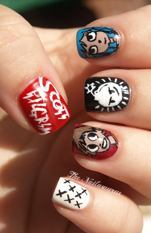 Scott Pilgrim nails! YES! I want to do these. Kids: GROW YOUR NAILS OUT. Mama wants to paint.