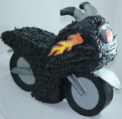 "Motorcycle Party Piñata Large 24"" Pinatas Fit Plenty of Candy and Goodies 