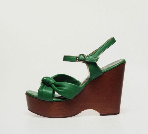 Platform shoes, women's, green, size 7 1/2B, Sandler 'Bardot', Australia, 1975