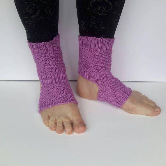 Pink yoga socks, exercise socks, dance socks, cotton socks, women's socks, handmade, knitted, pilates socks, spiral pattern, comfortable