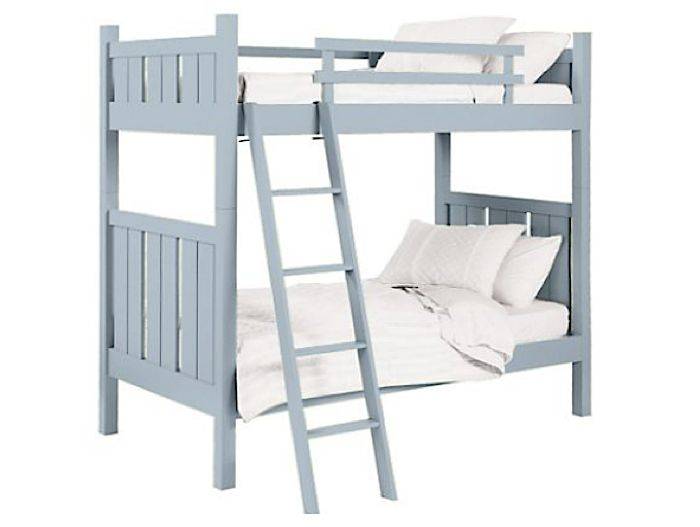 Handcrafted in the US of solid poplar and maple, the Shutter Bunk Bed from Maine Cottage Furniture is available in a dizzying choice of fifty low VOC waterborne paint finishes (shown in Winter); $3,670.