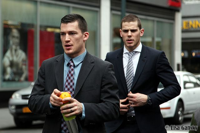 """""""Andrew Ference & Tyler Seguin of the Boston Bruins"""". Had no idea hockey players looked this sharp in civilian life.  Sharp and stylish with massive confident swagger. I have to start watching sports (maybe). Biddy Craft"""