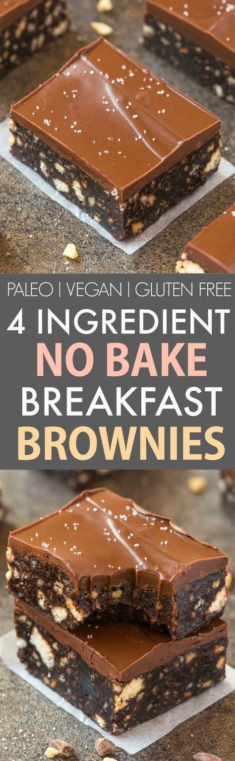 4-Ingredient No Bake Flourless Breakfast Brownies (V, GF, P)- Quick and easy no bake brownies using four ingredients and made in a blender and 100% fuss-free! Super fudgy, melt in your mouth and refined sugar free- A guilt-free chocolate snack or dessert! {vegan, gluten free, paleo recipe}- http://thebigmansworld.com
