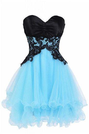Lace Chiffon Short Prom Dresses, Sweetheart Zipper Strapless Cute Homecaming Dresses
