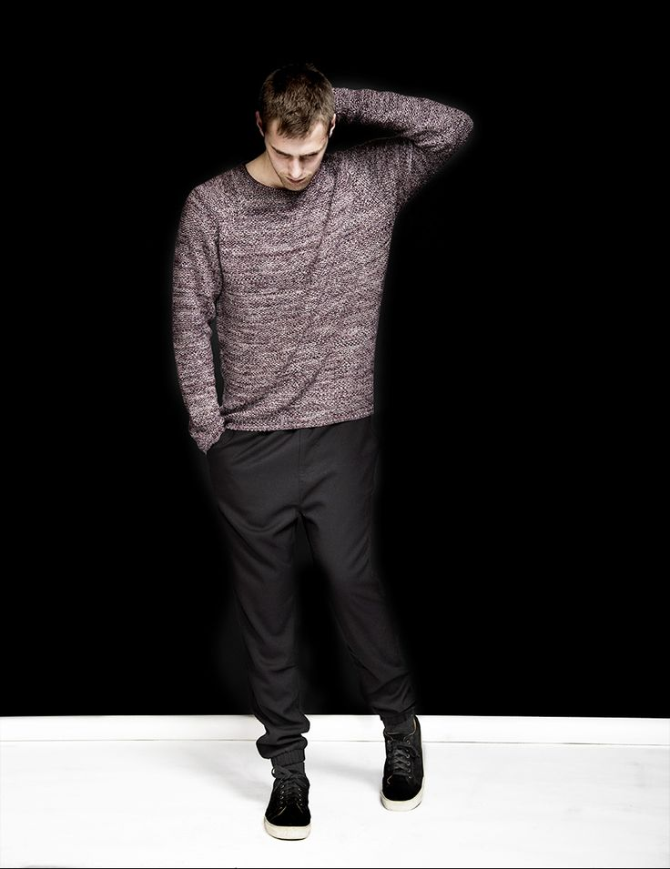 RVLT - men's fashion. Cotton raglan knit in multi color yarn.