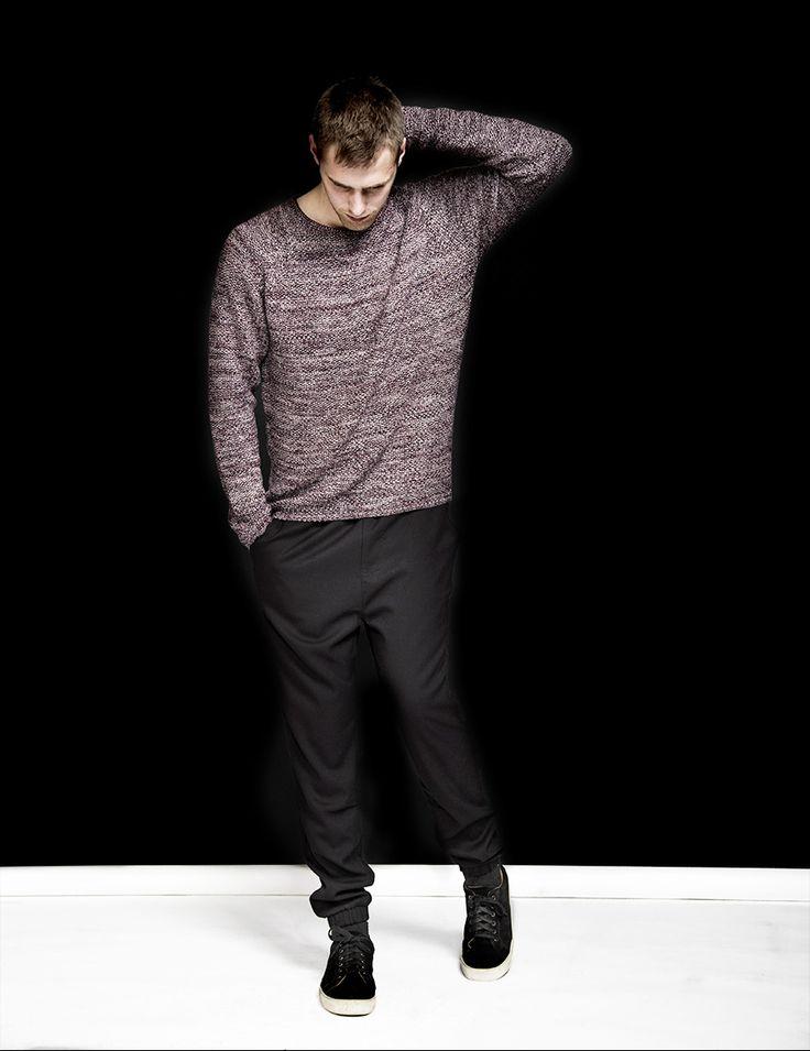 RVLT - men's fashion. Cotton raglan knit in multi color yarn.