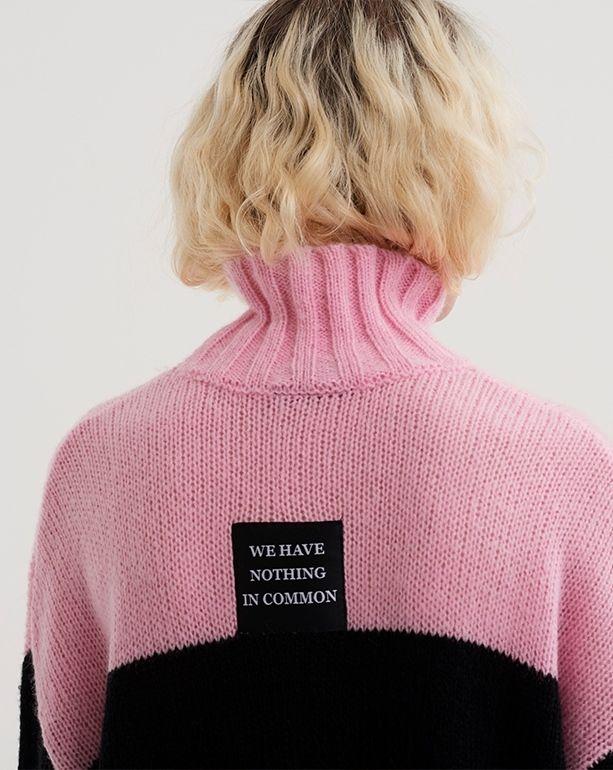 Lazy Oaf - Runner-up for best knitwear. Pinterest UK Style Awards. Image - Lazy Oaf Pink and Black Stripe Jumper.