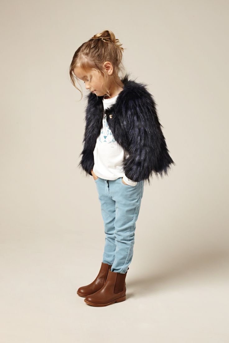 The shaggy fake fur jacket is still a firm favourite for kids fashion for the fall/winter of 2015 and this Chloe version is very classy