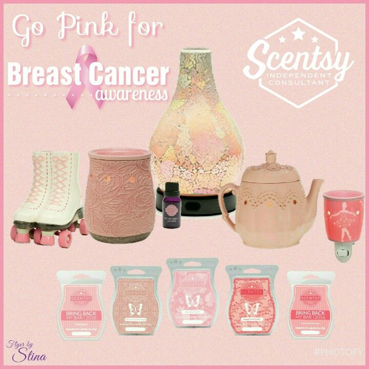 Go Pink for Breast Cancer Awareness Month, with Scentsy! (Flyer by Christina Whiteaker, Independent Scentsy Consultant) http://CWhiteaker.scentsy.us  #ScentsWithStina Oct2016