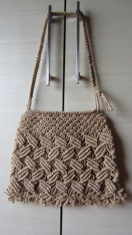 Macrame bag. Interesting pattern and cool messy fringe.