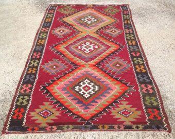 Turkish Kilim rug Diamond design rug Vintage by PocoVintage
