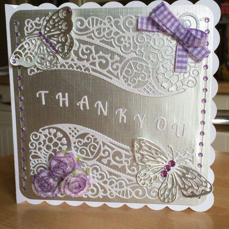 Made by Deborah Rose - Thankyou card using free die from tattered lace magazine…