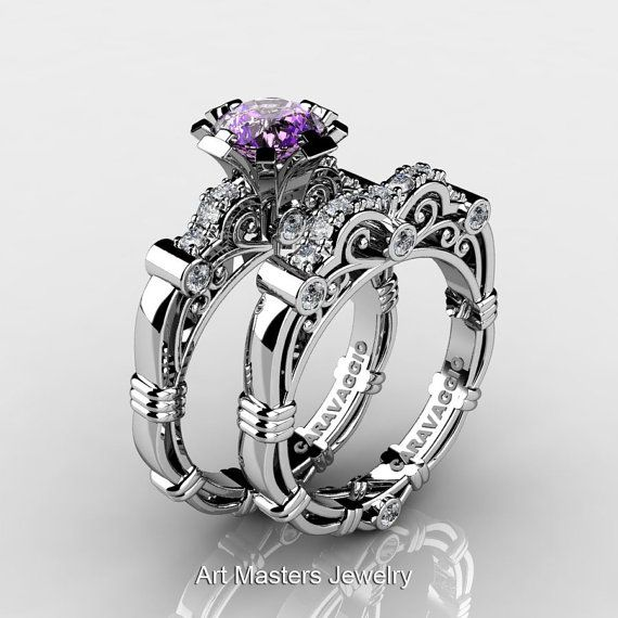 Art Masters Caravaggio 14K White Gold 1.0 Ct Amethyst Diamond Engagement Ring Wedding Band Set R623S-14KWGDAM