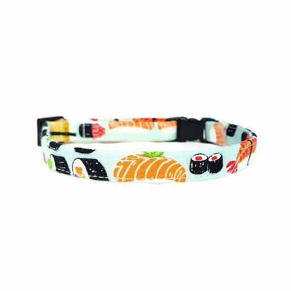 "Cat Collar -""Sushi - Safety Buckle/Breakaway - Light Blue - 100 % Cotton Fabric with Webbing Core - Soft/Sturdy - Fun Cat Collar"