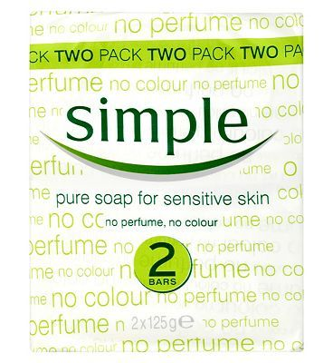 Simple Pure Soap Bar for Sensitive Skin 2 x 125g 4 Advantage card points. Simple Pure Soap Bar for Sensitive Skin contains no perfume and no colour to gently cleanse skin without any irritation. FREE Delivery on orders over 45 GBP. http://www.MightGet.com/february-2017-1/simple-pure-soap-bar-for-sensitive-skin-2-x-125g.asp