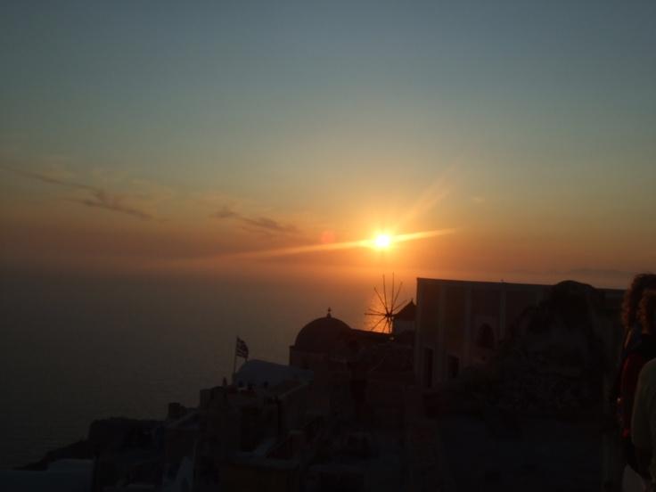 Beautiful sunset in Santorini, Greece.