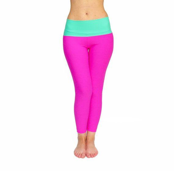 Pink Leggings Crop Yoga Pants High Waist Yoga Pants by AncyShop