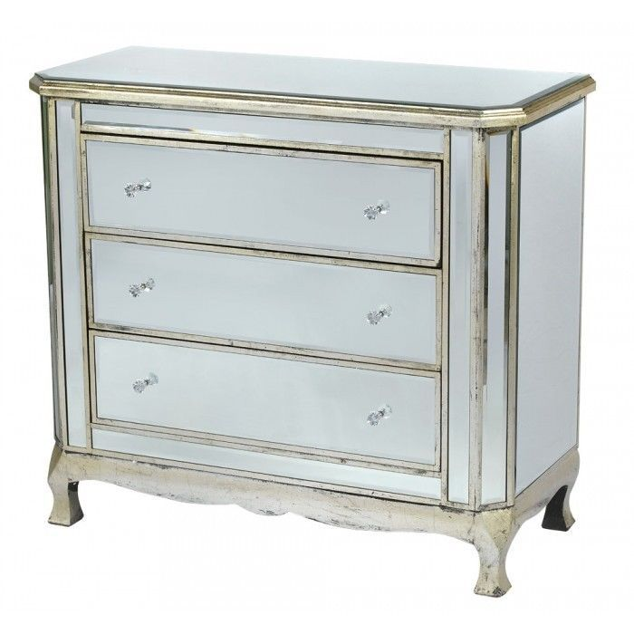Venetian Mirrored & Antique Distressed Silver 3 Drawer Classic Chest Of Drawers