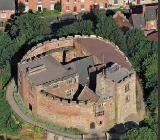 Tamworth Castle - Aerial view - A Norman castle that dates from 1070. Staffordshire, England