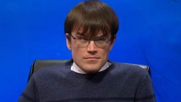 University Challenge contestant MonkMan from Cambridge looks wounded after saying the wrong answer