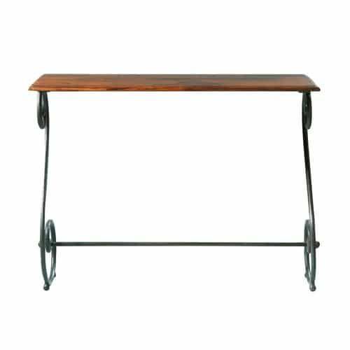 Luberon - Table console en fer forgé et bois de sheesham massif L 100 cm