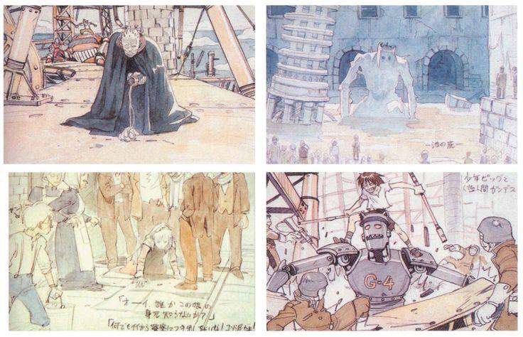 Unused image-boards for Fushigi no umi no Nadia movie by Tatsuyuki Tanaka (Cannabis Works)