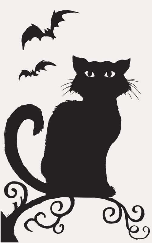 halloween window silhouette party decorations ghosts witches skeletons cats - Halloween Cat Decorations