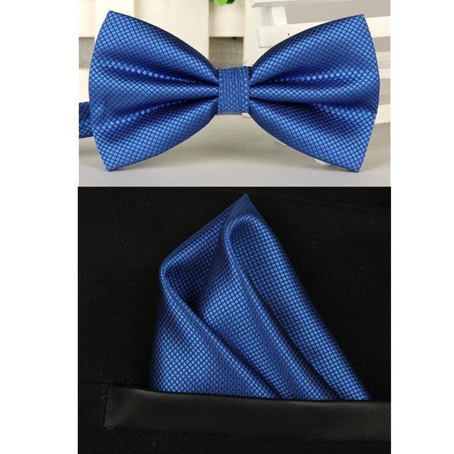 SHENNAIWEI Solid Bowtie & Handkerchief