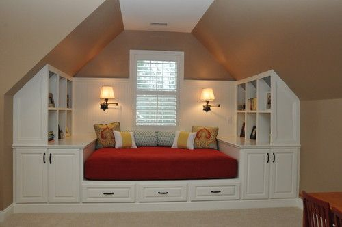 Using the slanted ceilings for more storage. Cutting off one end may provide enough space for a full size mattress.