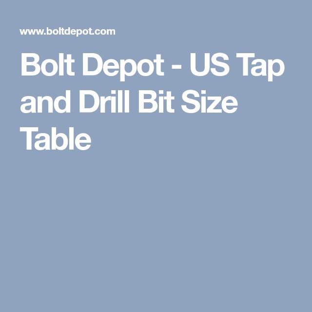 Bolt Depot - US Tap and Drill Bit Size Table