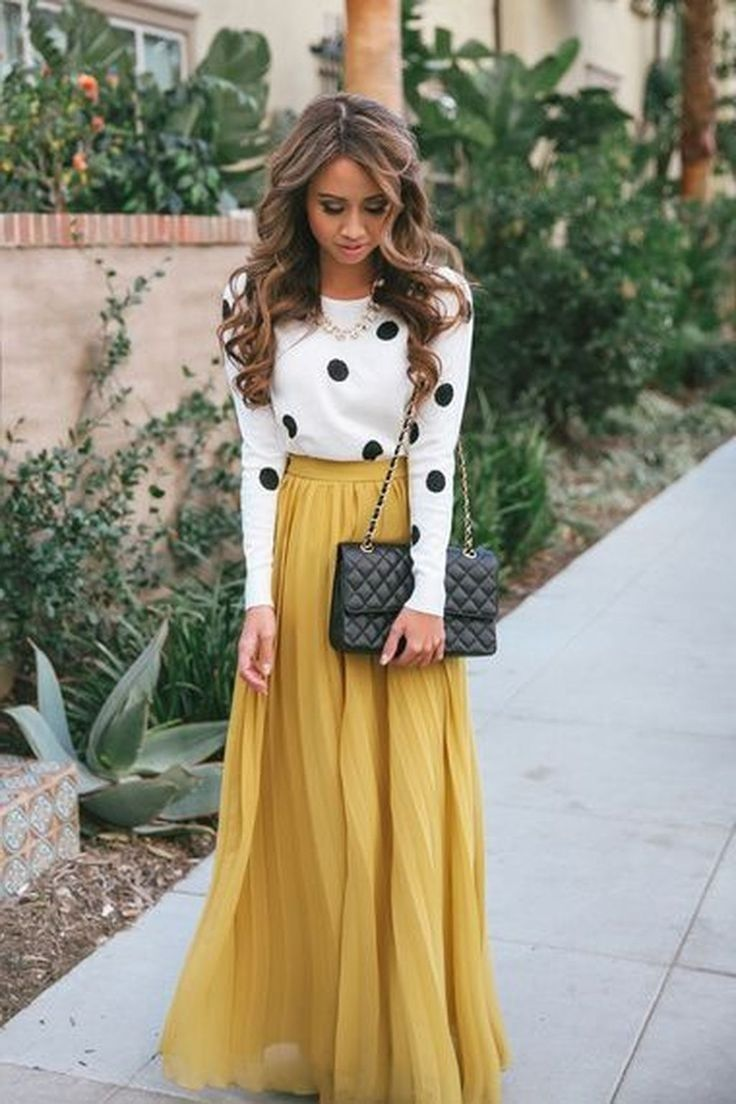 CLICK on the photo to shop this beautiful yellow mustard pleated skirt :) New mu…