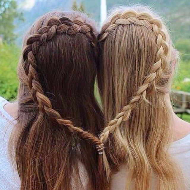 Best friend heart braid: Braid your hair with your BFF into a heart and have a slumber party night in honor of #NationalBestFriendsday