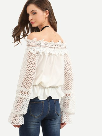 White Off The Shoulder Crochet Sleeve Blouse -SheIn(Sheinside)